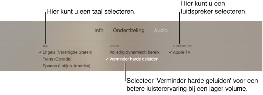 Afspeelscherm met de lijst 'Audio' en 'Verminder harde geluiden' geselecteerd