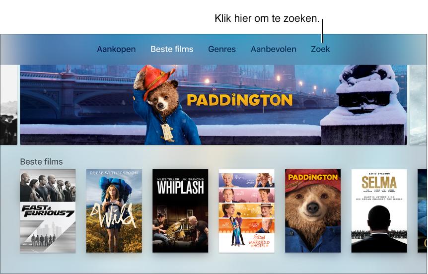 Scherm met zoekfunctie in een app.