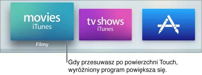 Zaznaczony program na ekranie początkowym