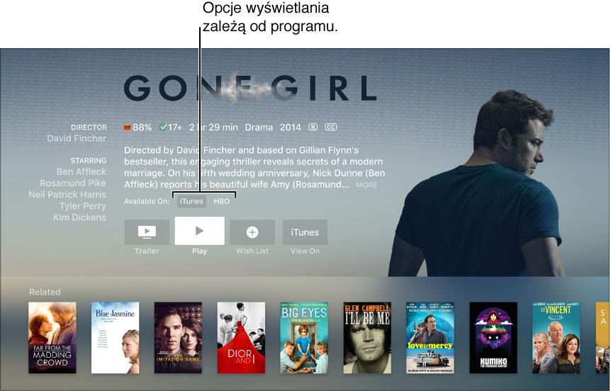 Ekran pokazujący ekran wyszukiwania filmu