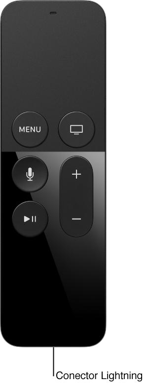 Imagem do controle remoto mostrando o conector Lightning
