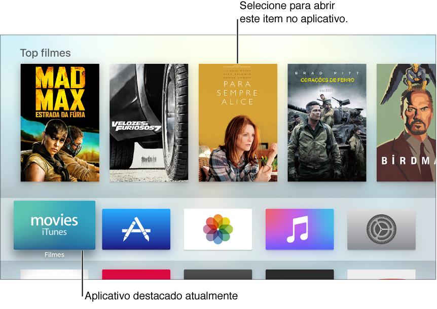 Tela de Início do Apple TV