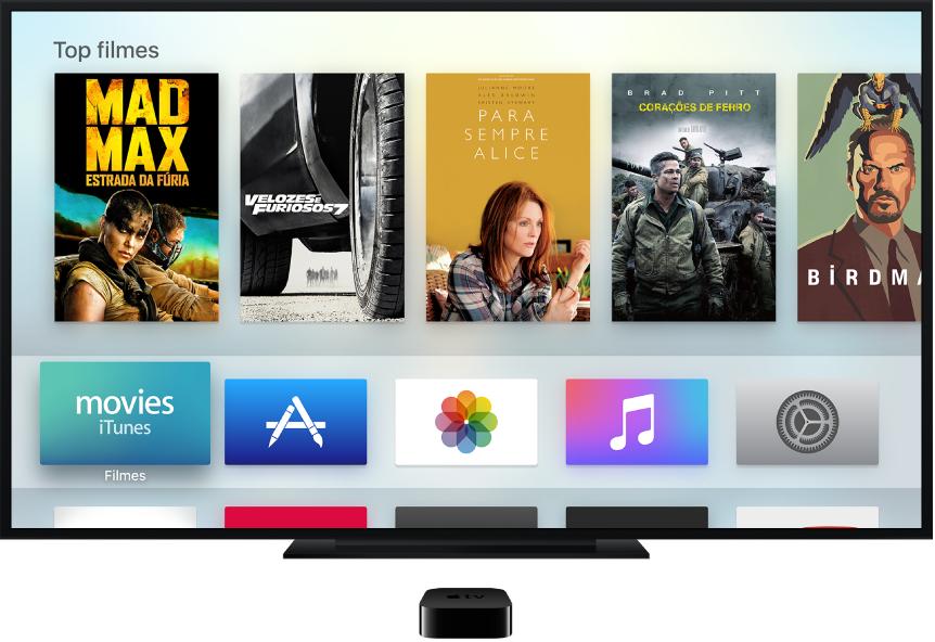 Apple TV conectado a uma TV mostrando a tela de Início