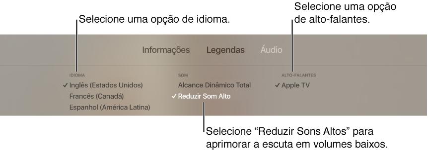 Tela de reprodução mostrando o menu Áudio e opção Reduzir Sons Altos selecionada