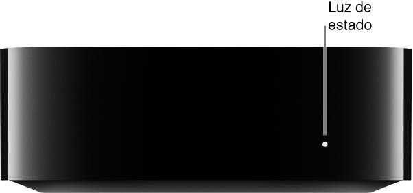 Apple TV com a luz de estado em destaque