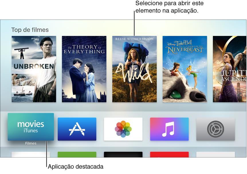 Ecrã principal do Apple TV