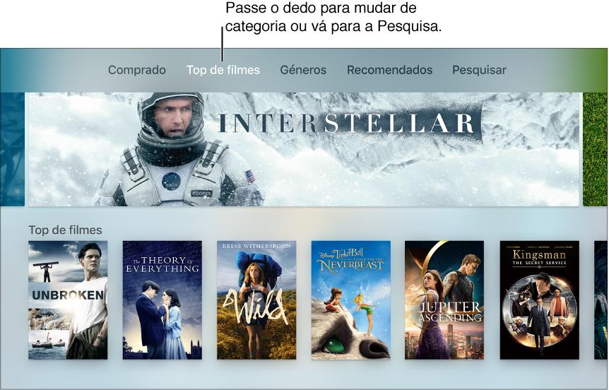 Ecrã principal da loja Filmes do iTunes