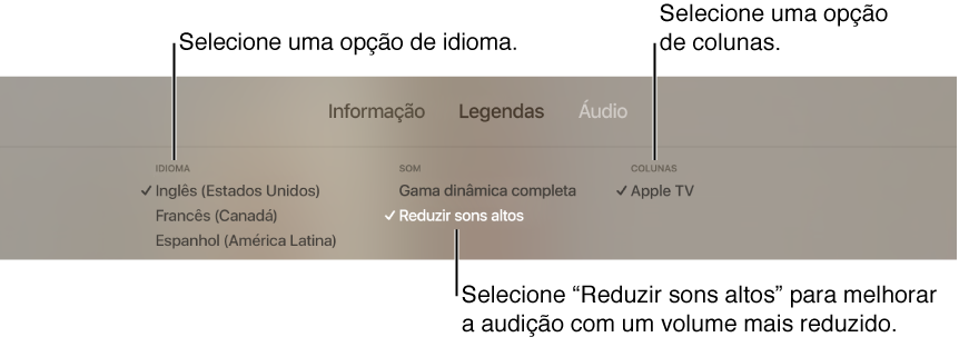 """Ecrã de reprodução a mostrar o pull-down Áudio e a opção """"Reduzir sons altos"""" selecionada"""
