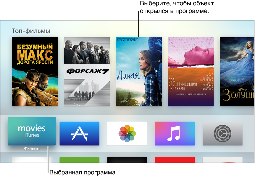 Экран «Домой» Apple TV