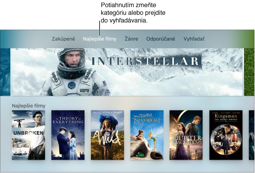 Domovská obrazovka obchodu Filmy ziTunes