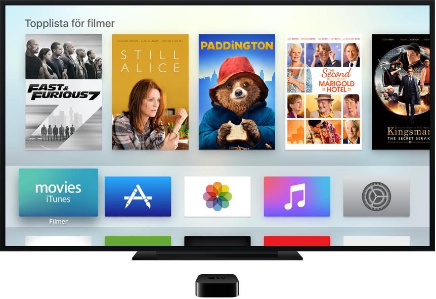 AppleTV ansluten till en TV, hemskärmen visas