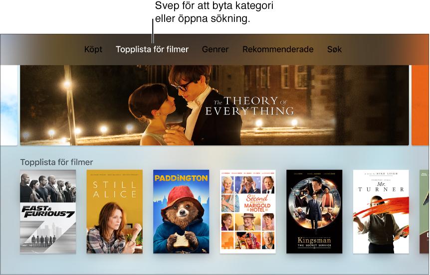 Hemskärm för iTunesMovies