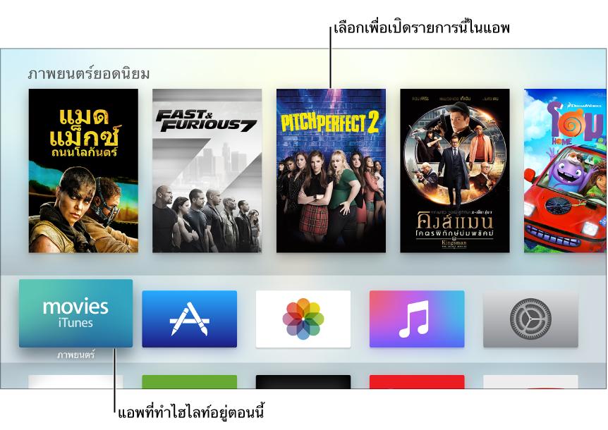 หน้าจอโฮมของ Apple TV