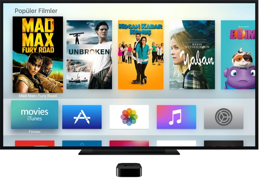 Ana ekranı gösteren bir televizyona bağlı Apple TV