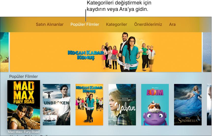 iTunes Filmleri Ana ekranı