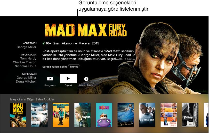 Bir filmin arama ekranını gösteren ekran.