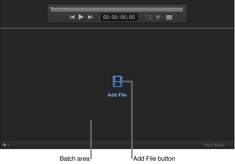 """Stapelbereich mit Taste """"Datei hinzufügen"""""""