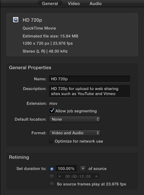 """Informationsfenster mit den Eigenschaften der Einstellung """"HD 720p""""."""