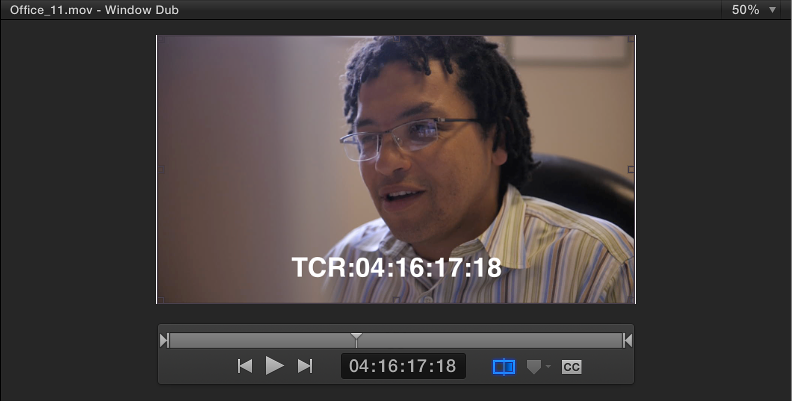 Preview area showing clip with burned-in timecode