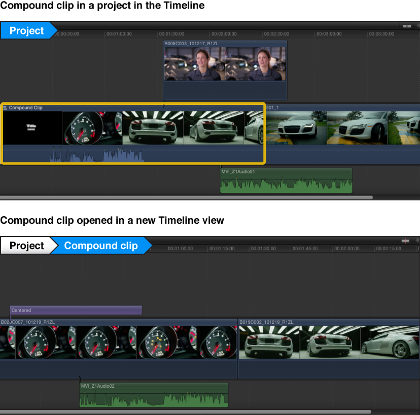Compound clip before and after being opened in Timeline for editing