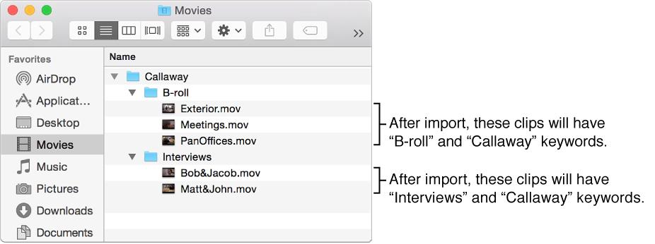 Finder displaying source media inside event folder