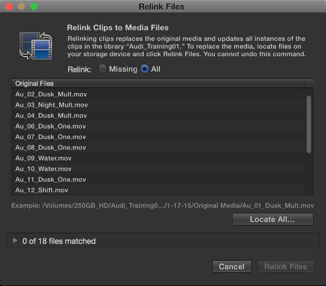 Relink Files window