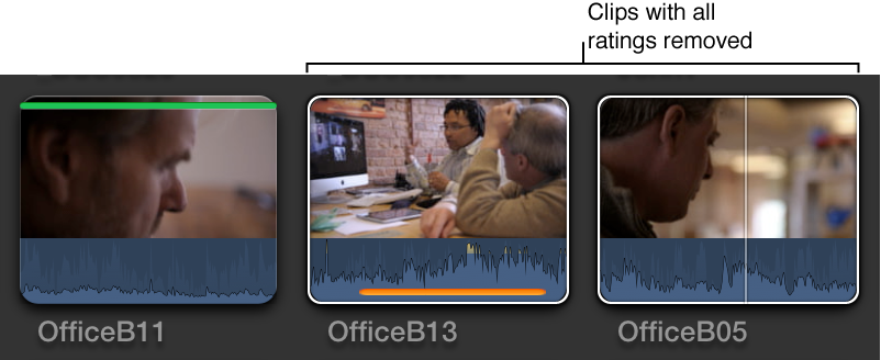 Clips in Browser shown with ratings removed