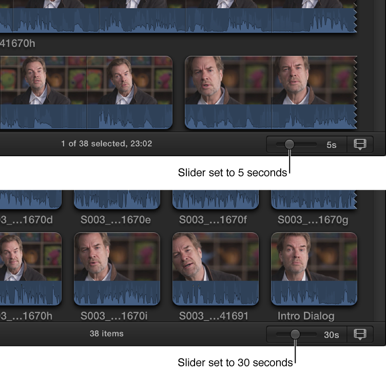 Comparison of visual length of filmstrips in Browser when Duration slider is set to 5 seconds and 30 seconds