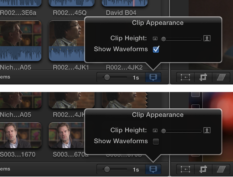 Filmstrips in Browser before and after audio waveforms are turned off using Show Waveforms checkbox