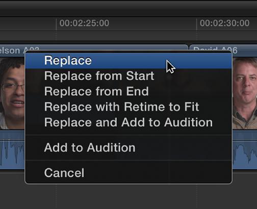Replace option in shortcut menu in Timeline