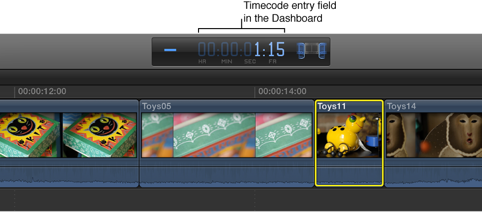 Timecode entry field in Dashboard