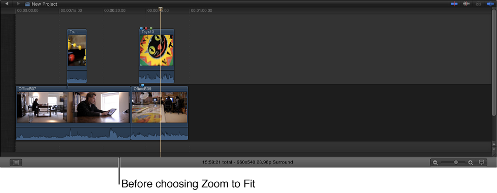 Timeline shown before choosing Zoom to Fit