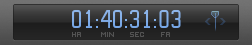Timecode field in Dashboard showing timecode value to move playhead to