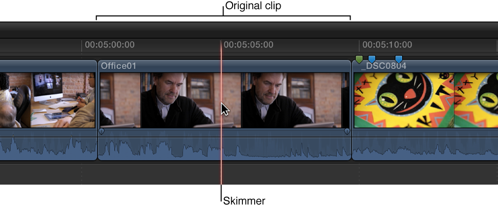 Skimmer positioned on clip in Timeline