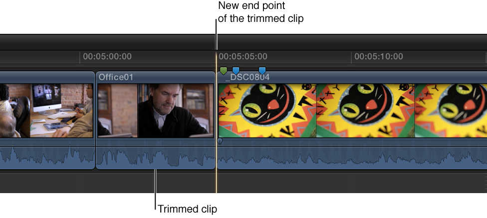 Trimmed clip in Timeline