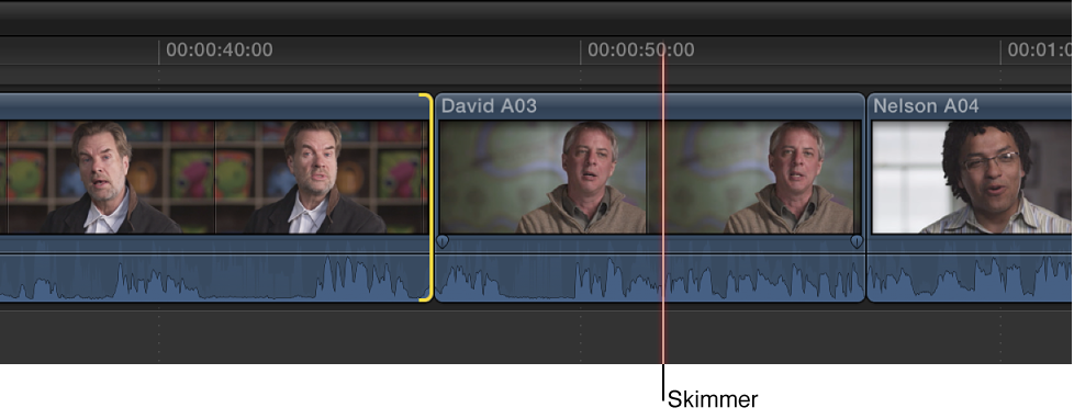 Skimmer positioned on clip in Timeline to define new edit point