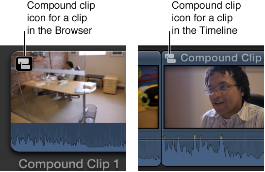 Compound clip icon shown on clip in Browser and clip in Timeline