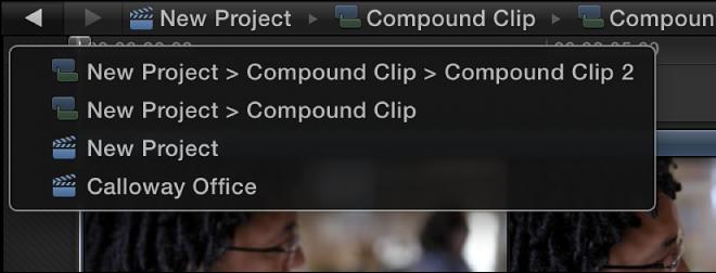 Compound clip navigation menu