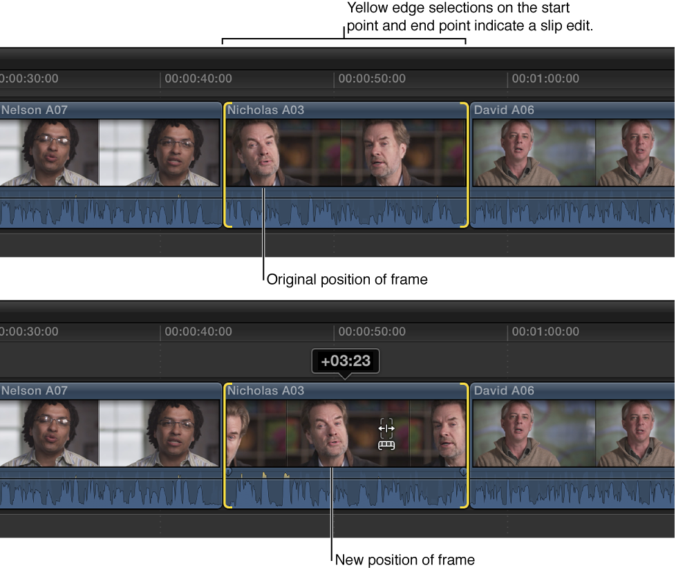 Clip start and end points being changed with slip edit while clip position and duration remain fixed