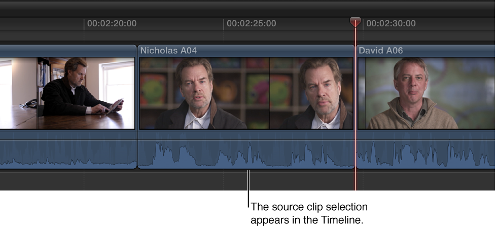 Source clip selection appearing in Timeline after replacing original clip