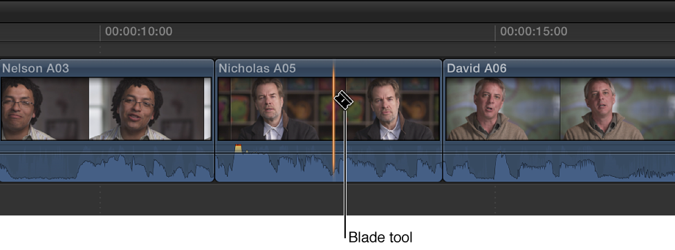 Clip in Timeline being cut using Blade tool