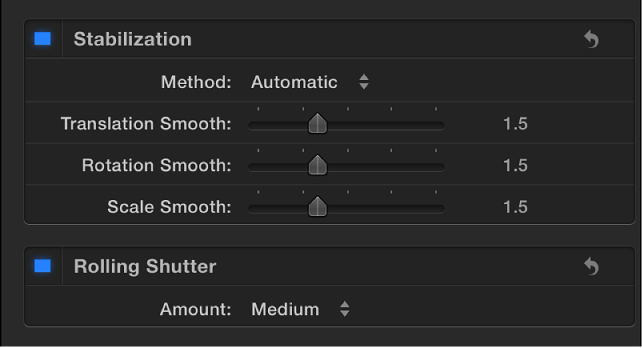 Stabilization and Rolling Shutter controls in Video inspector