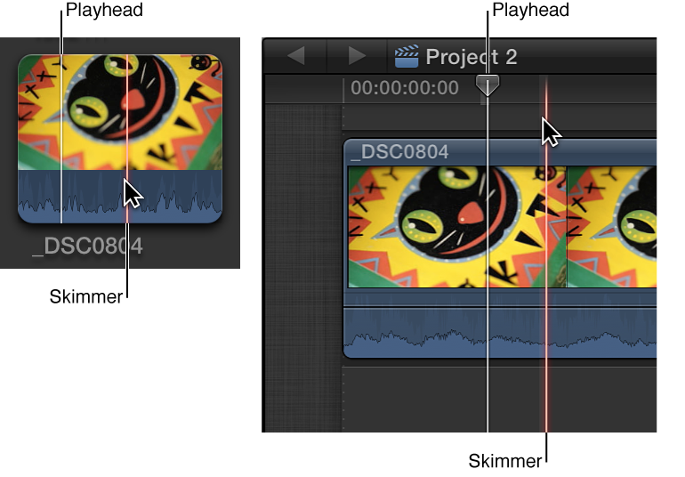 Skimmer and playhead shown in Browser and Timeline