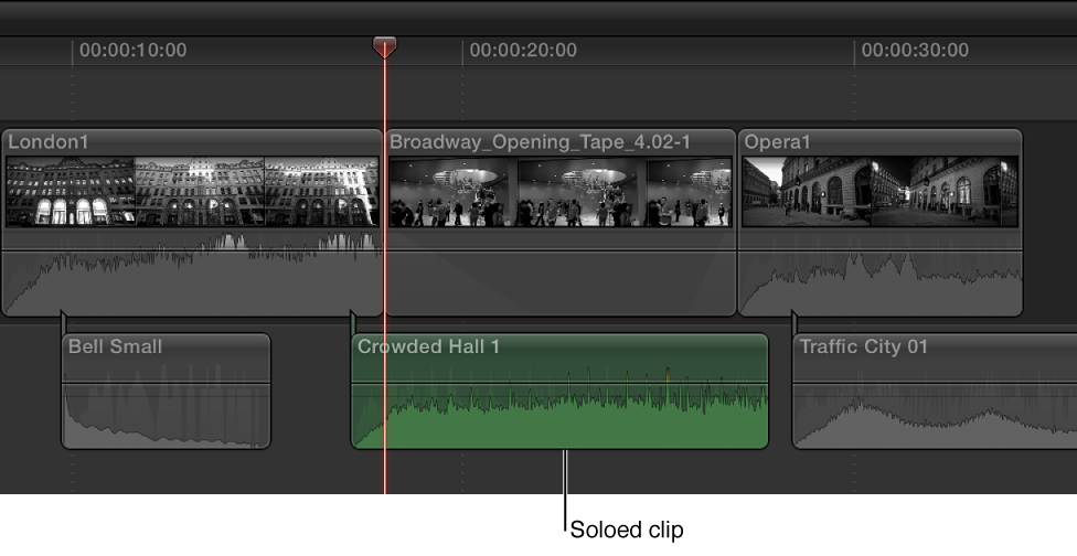 Soloed clip appearing highlighted in Timeline, with other clips appearing dimmed