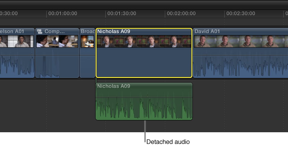 Clip in Timeline after audio portion is detached