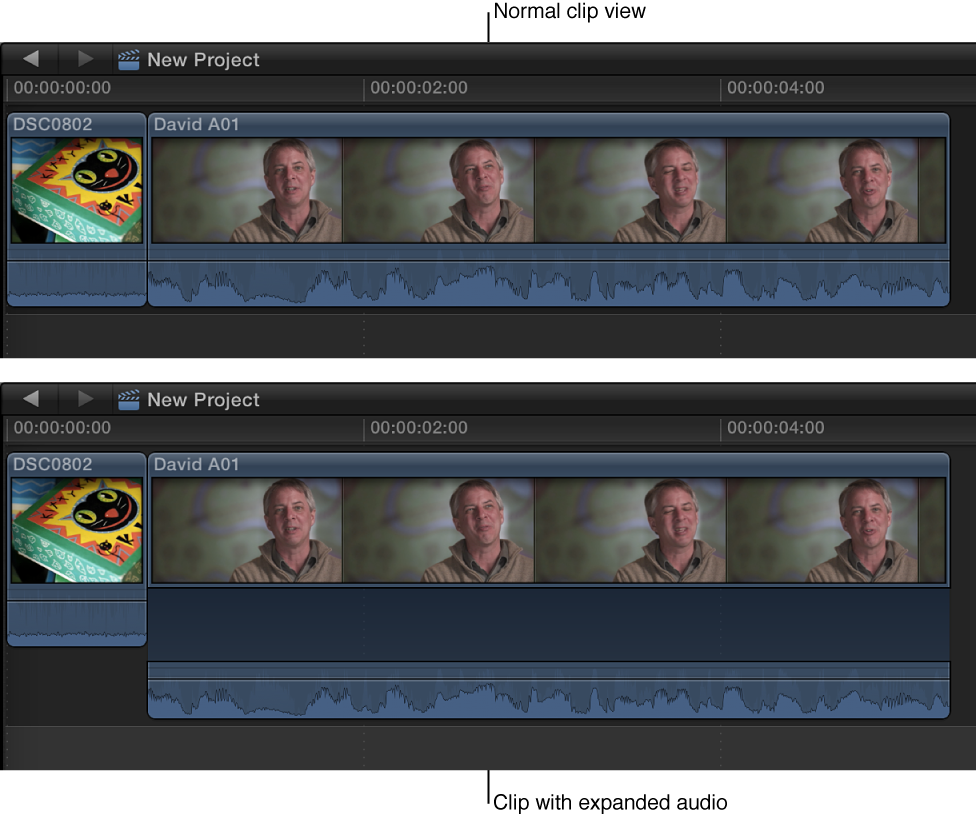 Clip in Timeline before and after audio components are expanded