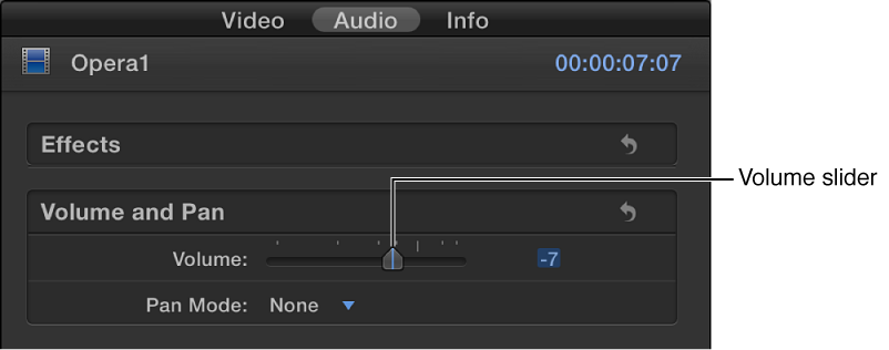 Volume slider in Volume and Pan section of Audio inspector