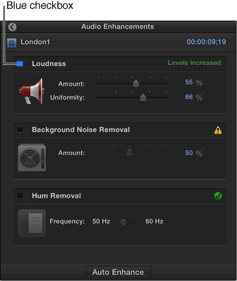 Audio Enhancements inspector showing checkbox for turning enhancement on or off
