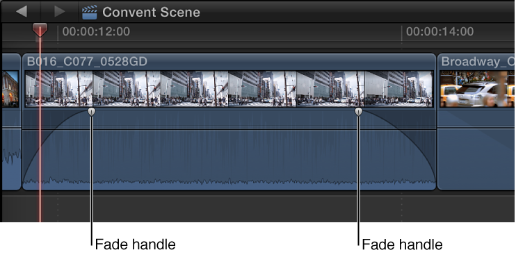 Fade handles in clip in Timeline