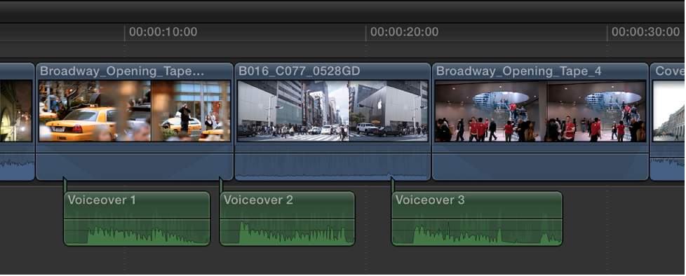 Audio recordings shown in Timeline